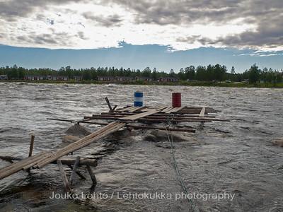 Kukkolankoski, Tornionjoki. A view to Sweden with a dock