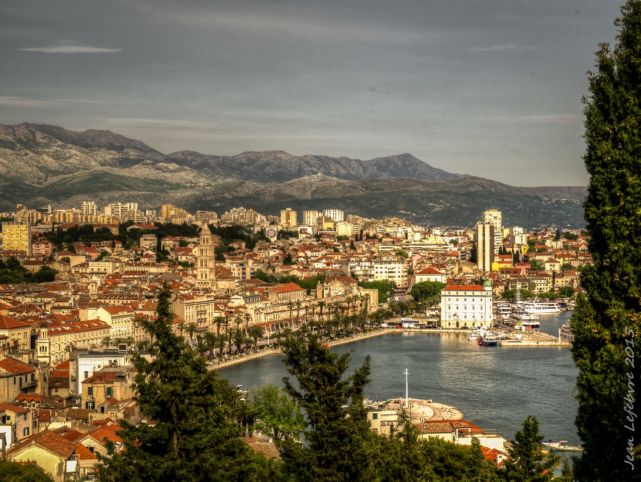 View of Split, Dioclesian's Palace and Harbour