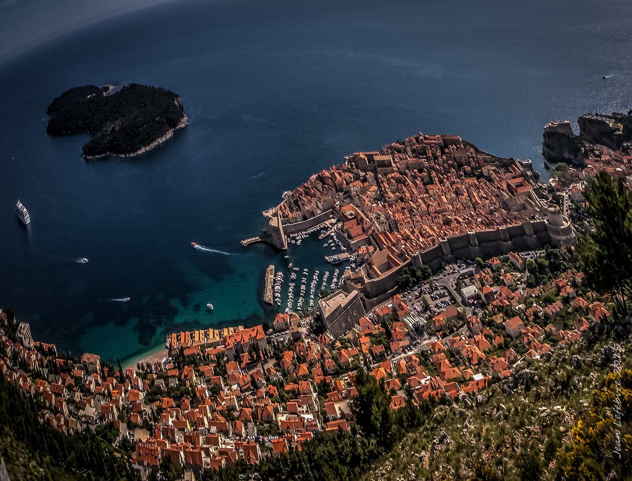 Looking Down on Dubrovnik and Lokrum Island