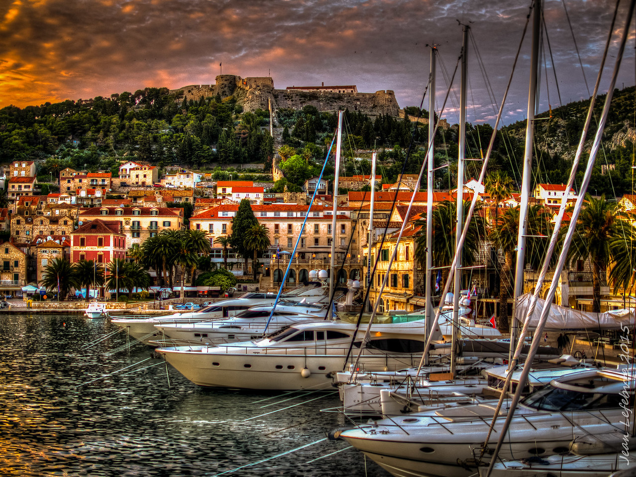 Hvar Harbour at Sunset, Croatia