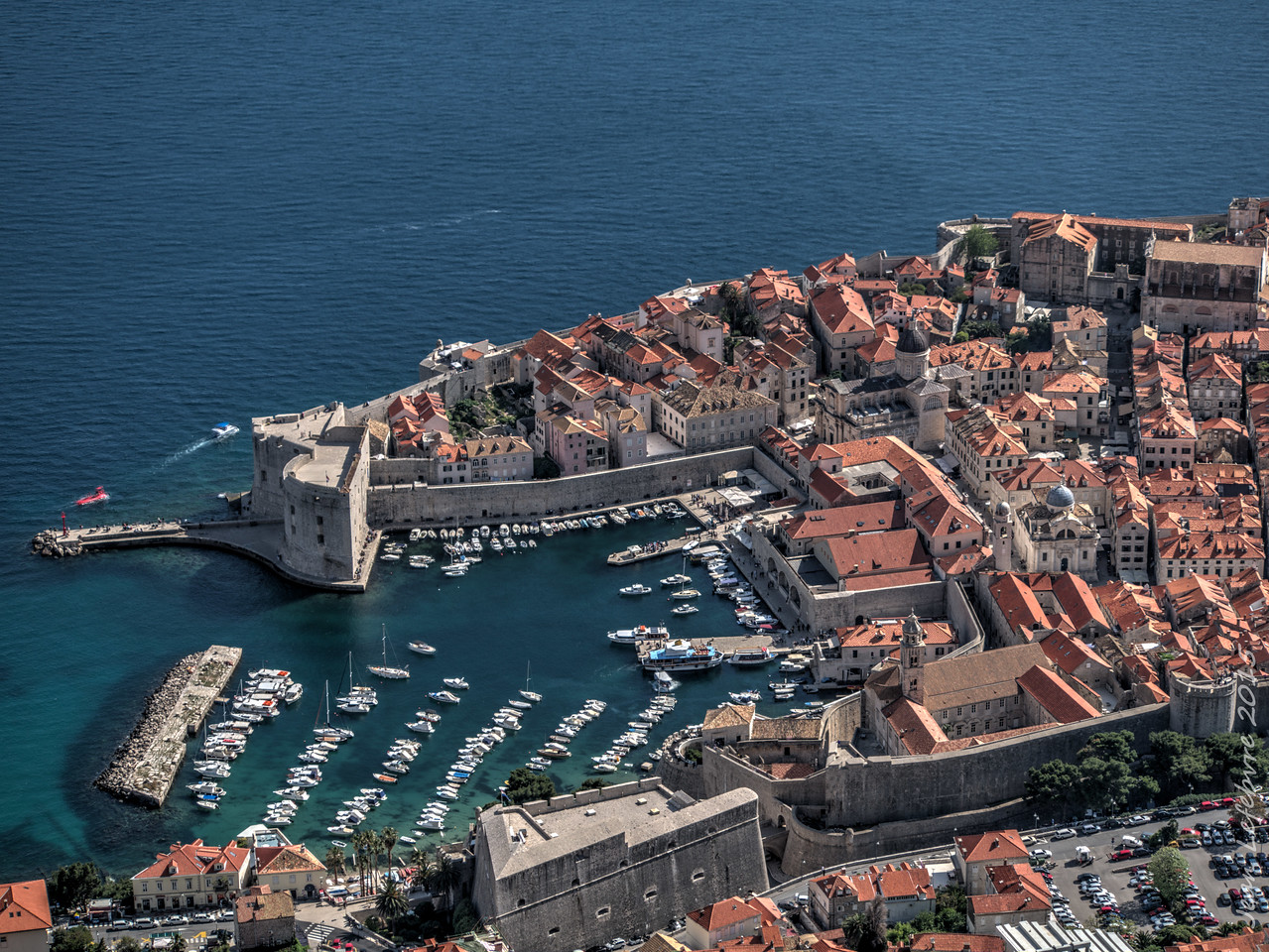 Dubrovnik Old Town Harbour from Srd