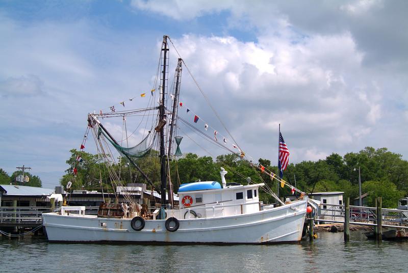 Shrimp boat along South Carolina island.