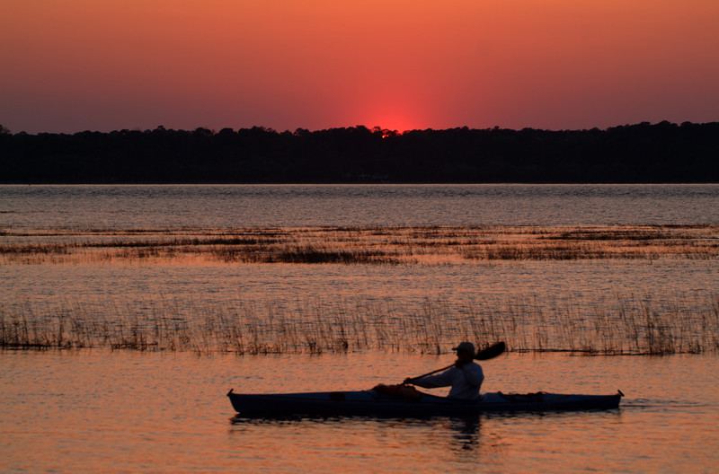 Kayaking along the South Carolina coast at sunset