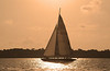 Sailboating at sunset along Hilton Head Island, South Carolina.