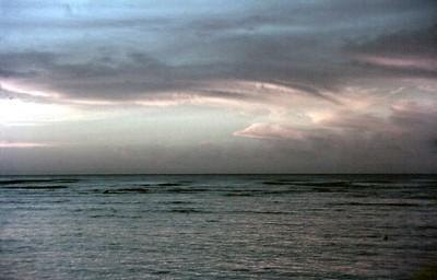 Sunset Waikiki beach Honolulu, Oahu Hawaii USA - Nov 1981