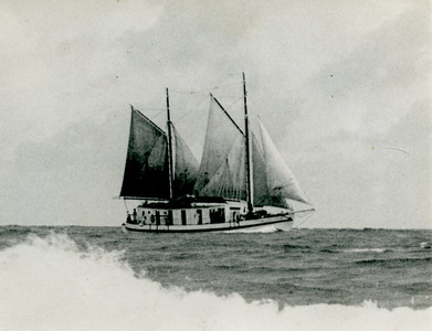 "Sailing the ""Wakaya"" to the  Cook Islands, 1948."