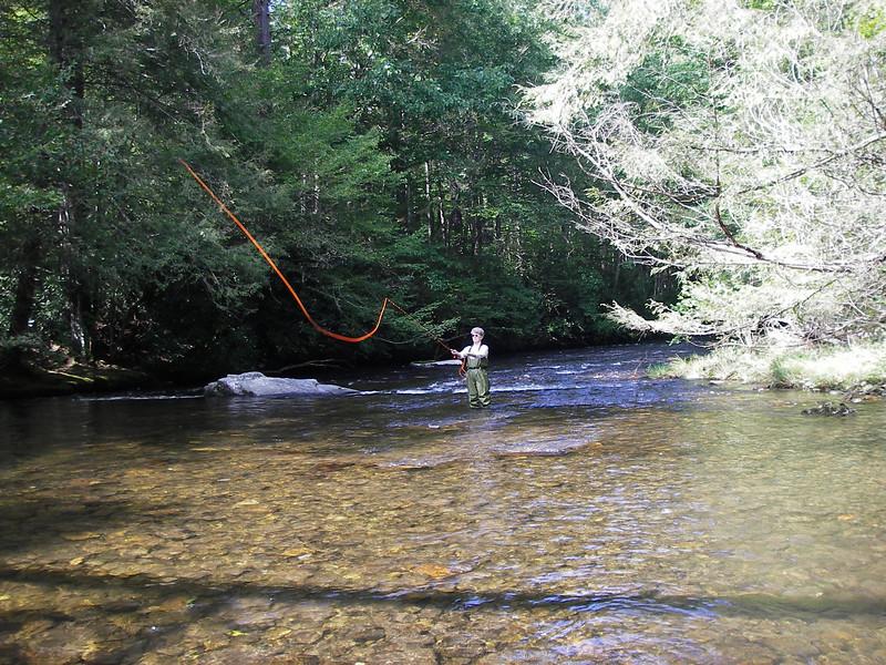 Lynda fly fishing the Big Creek