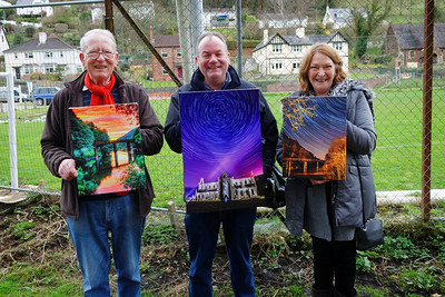 Paul Beyon andf companions with recently purchased works of art at Redbrook.