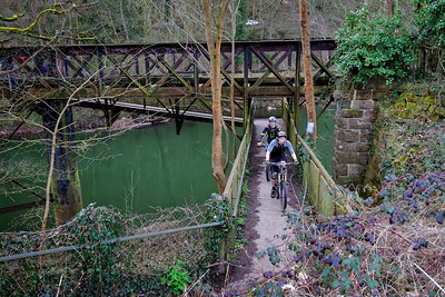 Redbrook Viaduct with mountain bikers.