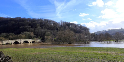 Kerne Bridge with the Wye in flood