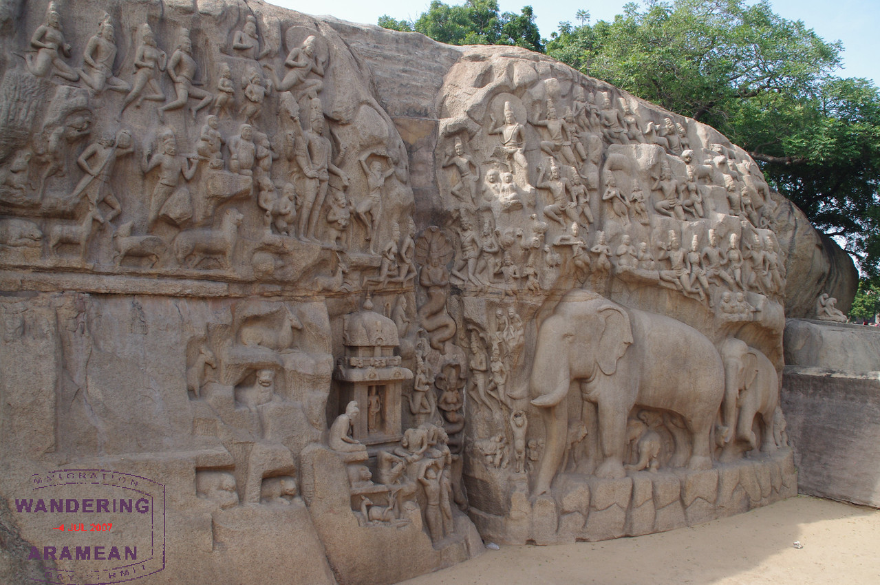 A huge bas relief carved into a stone. Awesome.