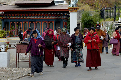 Prayers offered at Memorial Chorten, Chhoten Lam, Thimphu, Bhutan.