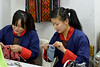 Students learning embroidery at the National Institute for Zorig Chusum, Dept of Human Resources, Thimphu, Bhutan.<br /> <br /> Commonly known as 'the painting school', four to six-year courses provide instruction in Bhutan's 13 traditional arts and students specialise in painting (furniture, thangka – painted religious pictures, usually on canvas), woodcarving (masks, statues, bowls), embroidery (hangings, boots, clothes) or statue-making (clay).