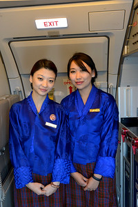 DrukAir flight attendants on flight from Mumbai, India to Paro, Bhutan on Druk Air flight.