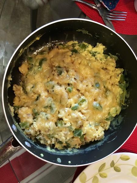 Delicious egg scramble for breakfast!