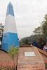 Obelisk painted like the Argentinian flag.