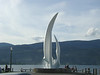 Fountain in park.  Okanagan Lake in the background.