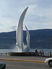 Fountain in Kelowna.  Okanagan Lake in the background.