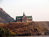The back side of the Prince of Wales Hotel overlooking Waterton Lake.