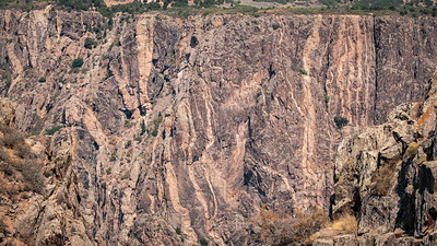 Black Canyon of the Gunnison National Park - Lighter areas showing Pegmatite