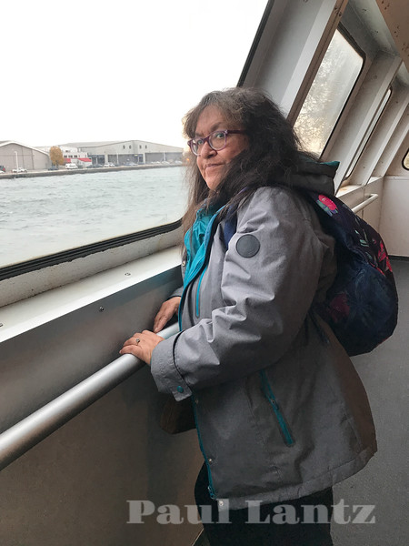 Denise Lantz on ferry headed to Billy Bishop Airport.