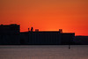 Grain elevators before sunrise.