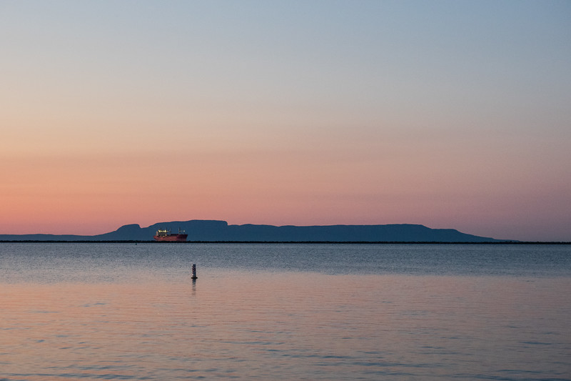 Ship at Thunder Bay, sleeping giant in background.