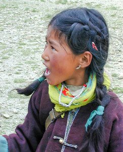 Tibetan girl near Yamdrok lake, on the road from Lhasa to Gyantse.