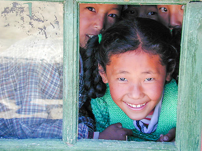 Girl at an elementary school near Tsedang, Tibet.