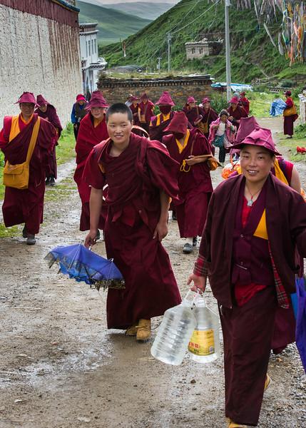 Nuns at the Ani (nunnery) Tashi Gompa near Tagong