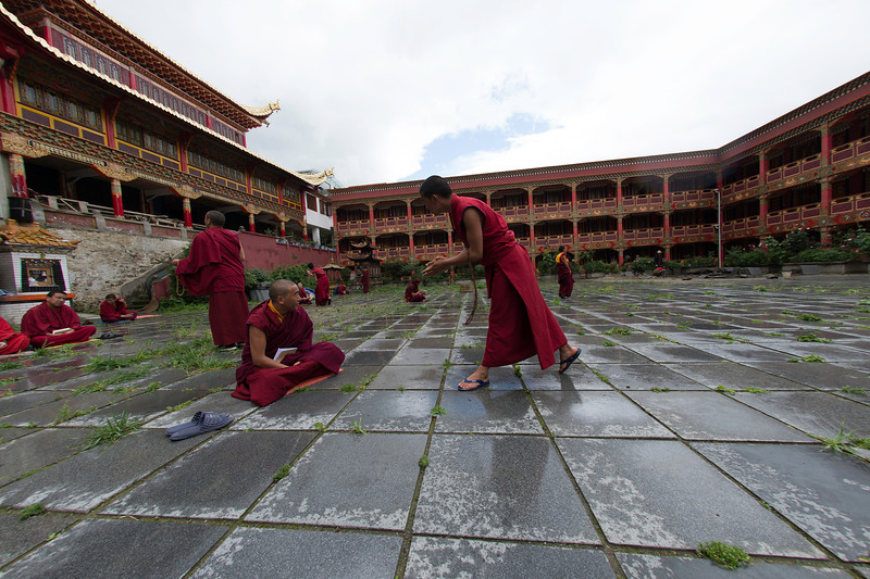 Practicing debate at the monastery in Kangding