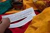 Pecha or pages from a Tibetan text being used for the cham in Tagong