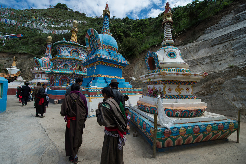 Circumambulating the stupas at Damo Ani Gompa Amdo