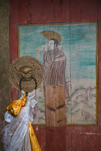 Tibetan door to the gompa or monastery in Amdo