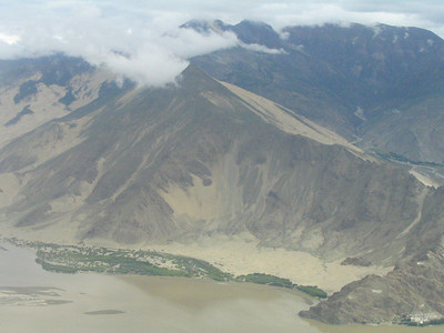 From the airplane, nearing Lhasa.