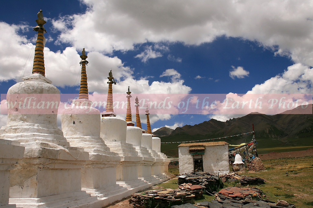 Chortens on mountain pass- Central Tibet