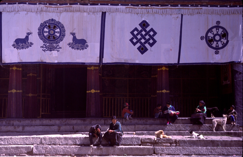 On the steps of Sera Monastery in Lhasa