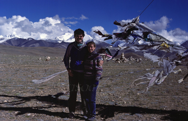 Us (Rob and Anna Lisa) on the Tibetan plateau, with tattered prayer flags and the Himalayas. I believe the biggest mt. in that view is Shishapangma.