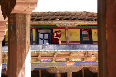 Monk outside his room.