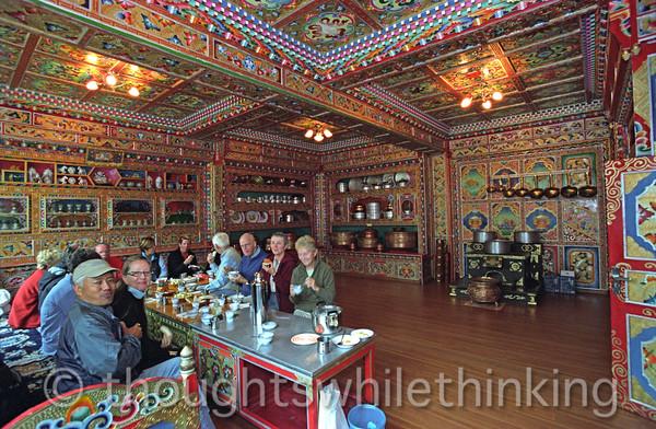 Tibet 2006 Litang GeoEx tour group breakfast Aug 2