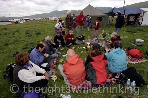 Tibet 2006 Litang Horse Festival GeoEx tour group lunch Aug 1