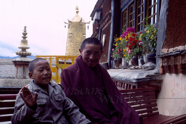 Younger and older monk at one of the Lhasa monasteries