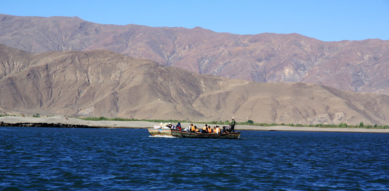 Ferry crossing the Yarlung Tsampo river.