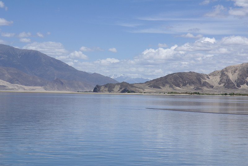 Yarlung Tsampo river with snow-capped mountains in background.
