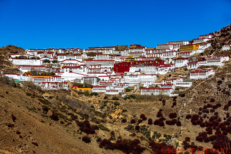 Ganden Monastery that was destroyed in 1956 but has since been rebuilt.