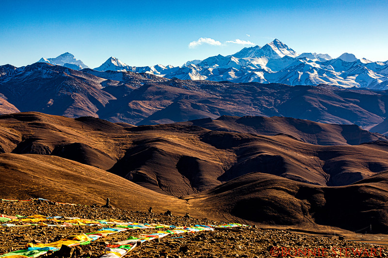 The 17,000 foot  Pang La Pass location for viewing the Panorama of soaring peaks of the Himalayan range including the three highest - Everest, Lhotse and Makalu