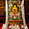 Ganden Monastery - art work of the Buddha inside the founder's home.