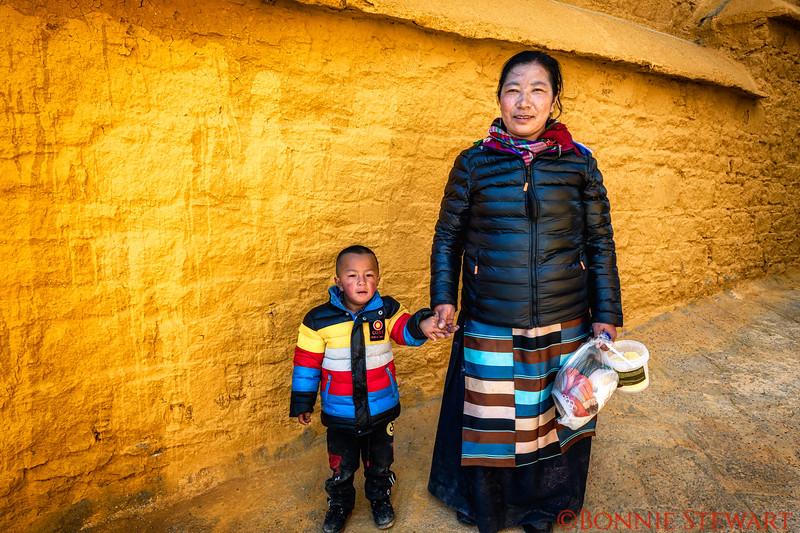 Locals in Ganden Monastery grounds