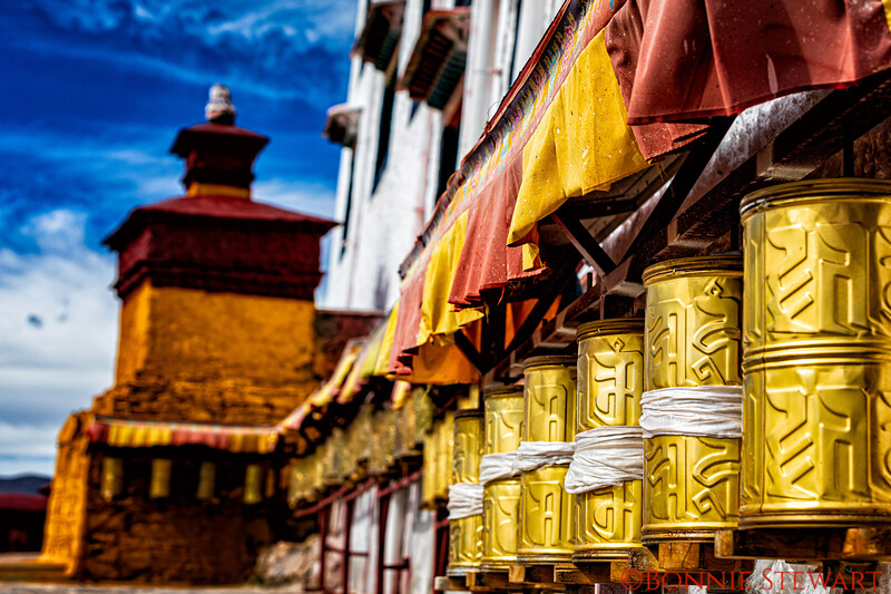 Prayer Wheels in the Samding Monastery