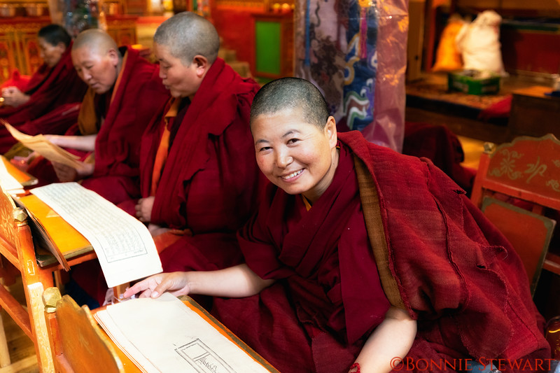 Nuns in the Chupsang Nunnery dated from 11th Century near the Sera Monastery